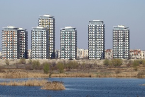 river, water, buildings, city, grass