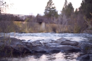 bridge, river, landscape, rocks, stone, water