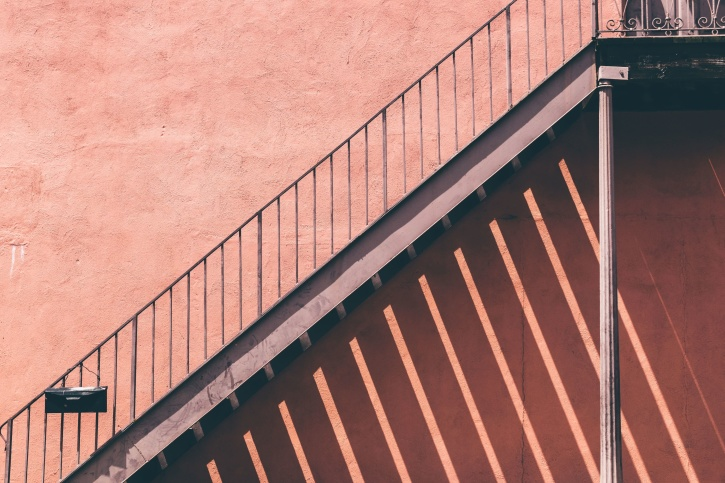 schody, oceľové, steny, architektúra