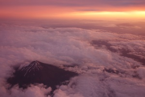 nuages, volcan, ciel, lever, coucher de soleil, nature