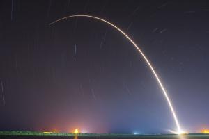 rocket, night, sky, light, trail