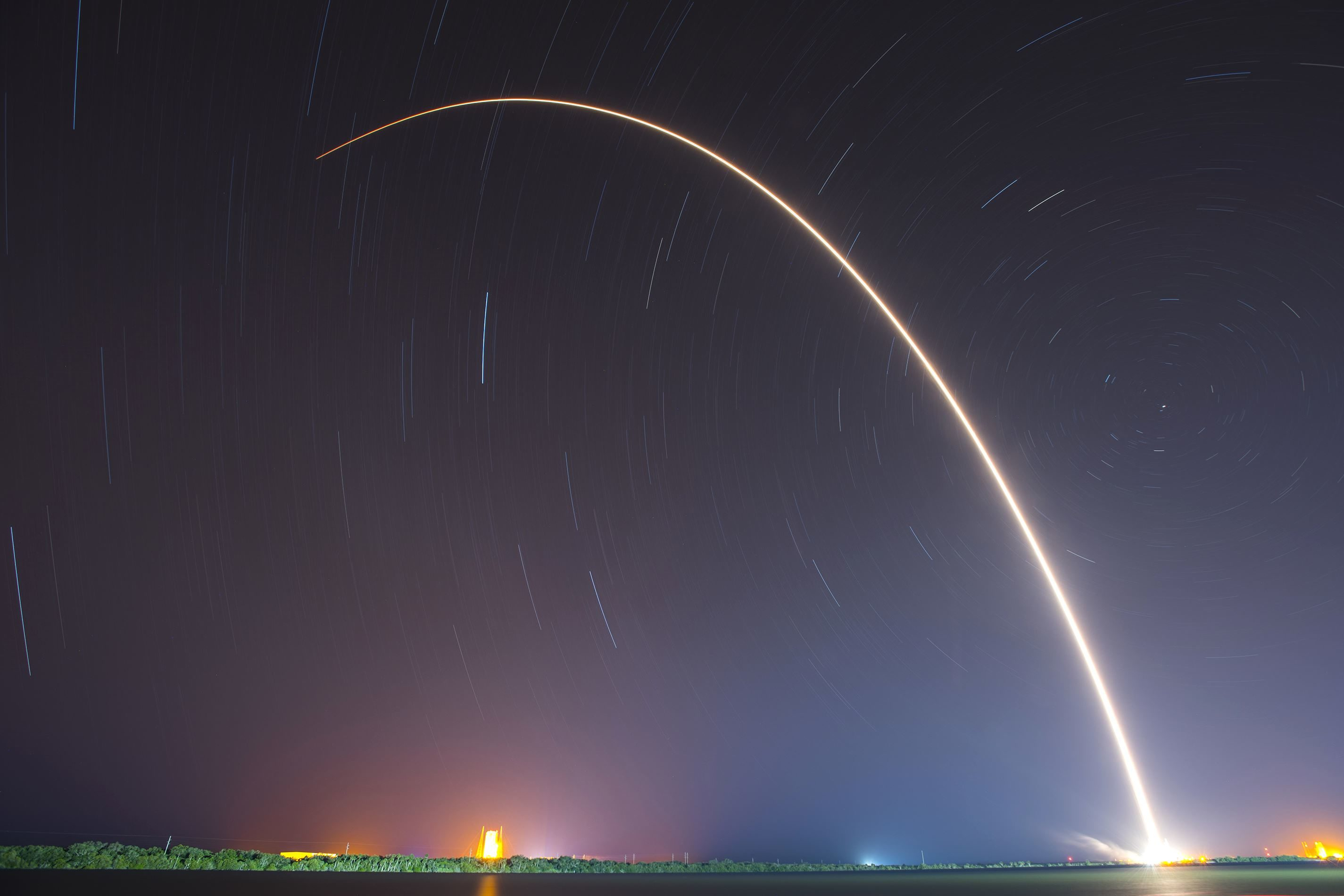 Free Picture Rocket Night Sky Light Trail