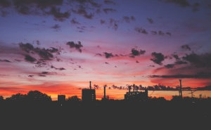 silhouette, sky, factory, industrial, plant, architecture, building, chimney, city