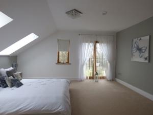 interiér, dizajn, lampa, luxusné, moderné, byt, architektúry, postele, spálne