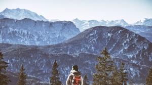 Reise, Baum, Tal, Winter, Holz, Abenteuer, Rucksack, klettert, Wolken