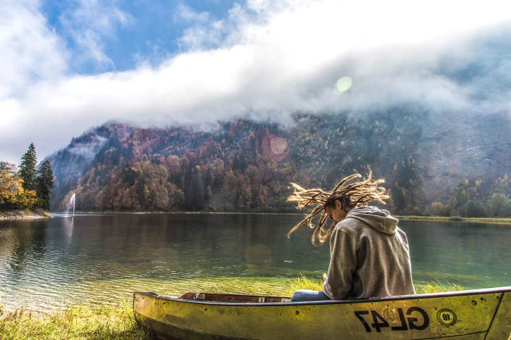 person, river, trees, water, canoe, fog, lake, landscape