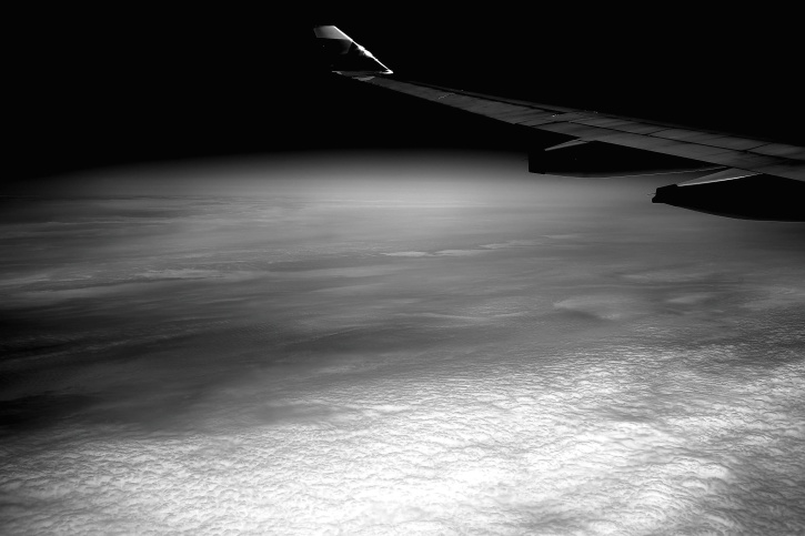 oblaci, tamno, zrakoplova, krila, siva, skale