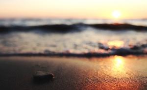 pietra, sole, tramonto, acqua, onde, di ghiaia, riflessione, roccia