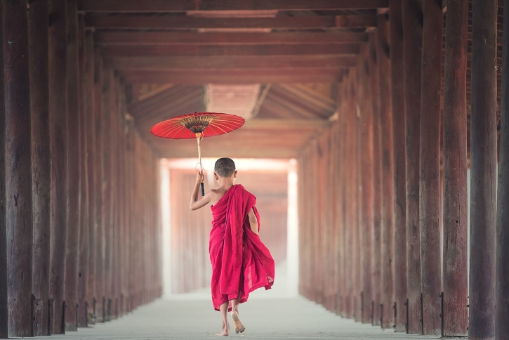 umbrella, worship, young, Asia, temple, tradition
