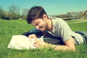 field, lawn, leisure, lifestyle, man, spring, sun, writing