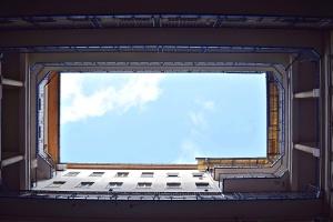 niebo, okno, apartamenty, architektura, budowa