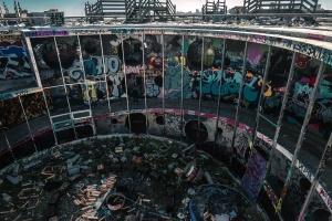 építészet, elhagyott, graffiti, épület