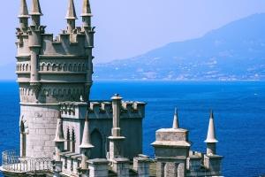 vár, építészet, építészeti, tenger, külső