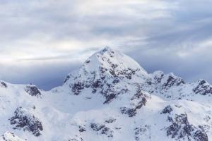 snow, winter, mountain, peak
