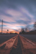 nuages, route, ciel, coucher de soleil