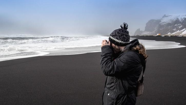man, person, jacket, photographer, sand, sea, beach