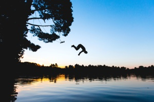 river, silhouette, sunrise, jumping, lake, tree, water