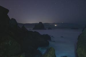 rock, tenger, tengerpart, csillagok, kövek, strand, alkonyat, Hold