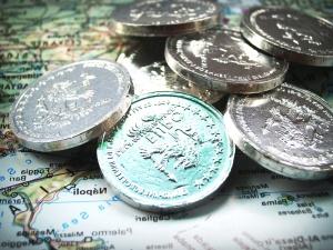 monety, mapa, pieniądze, Euro, metal