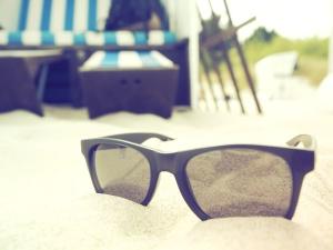 lunettes de soleil, Voyage, tropical, vacances, sable, plage, mode