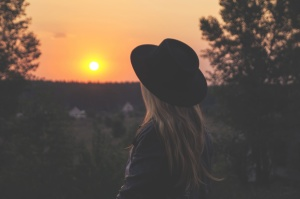 sunset, tree, woman, person, silhouette, sun, hat