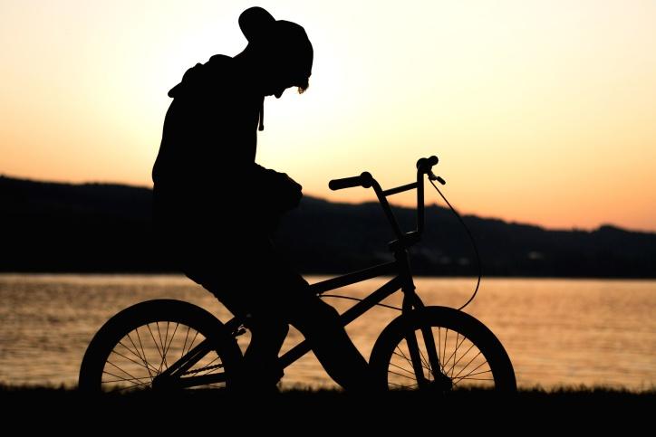 Fahrrad, Motorradfahrer, Meer, Silhouette, sitzend, Sport, Sonne