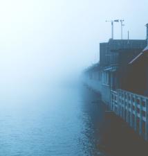 brouillard, maisons, brume, océan, l'eau, la météo, les bâtiments