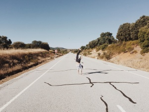 road, sky, tree, man, person, hand