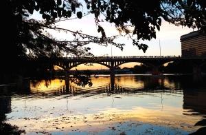 Baum, Wasser, Brücke, Wolken, Abenddämmerung, Abend, Reflexion, Fluss