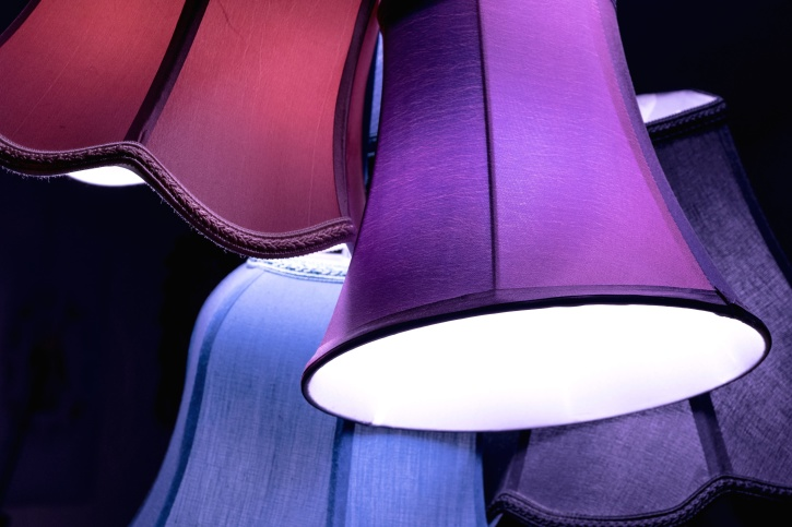 атмосфера, класичний, елегантний, лампа, абажура, світло, лампа, освітлення