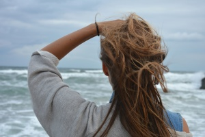 girl, young woman, hair, water, wind, sea, summer