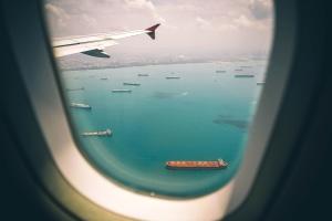 cargo, aircraft, harbor, marine, window, transportation