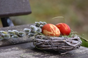 easter eggs, wood, food, nest, traditional
