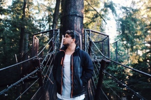 suspension bridge, leather, jackets, man, nature, person, tree