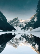 winter, mountain, nature, outdoors, reflection, sky, snow, water