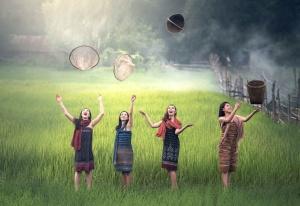 women, beautiful, celebrate, culture, enjoyment, farm, field, fun, grass