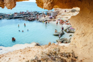 summer, swim, swimming, vacation, water, blue, cave, ocean, people, rock