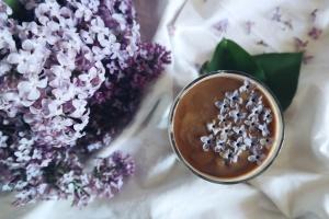 květiny, jídlo, pití, hrnek na kávu čaj