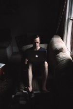 laptop computer, man, room, sitting, sofa, working