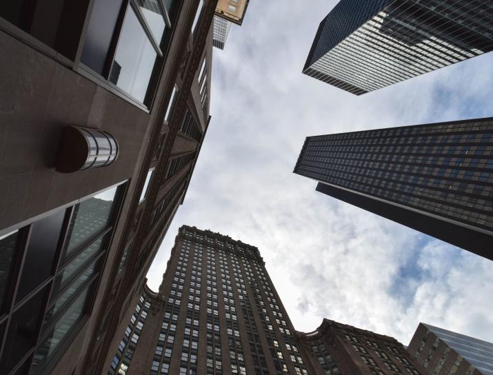 ciudad de negocios, urbano, ventanas, arquitectura, edificios, ciudad, nubes, céntrico, ciudad