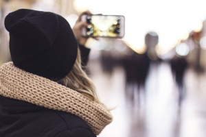 Digitalkamera, Handy, Mode, Mädchen, Smartphone, Frau