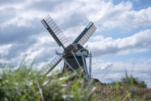 sky, summer, wind, windmill, agriculture, architecture, clouds, countryside