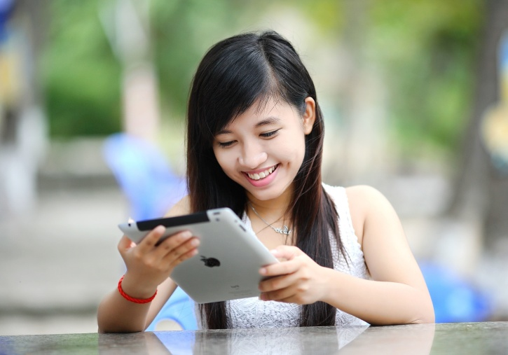 tablet, technology, woman, young girl, college, communication