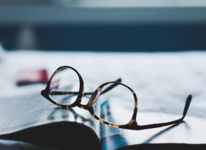 eyeglasses, lens, paper, table, eyewear, focus