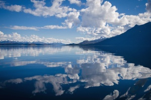 landscape, mountains, clouds, lake, nature, reflection, sky, snow