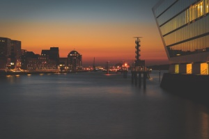 dusk, sky, ocean, sea, buildings, city, town, water, waterfront