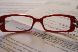 document, eyeglasses, focus, notebook, paper