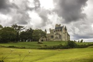 landscape, lawn, tree, architecture, building, castle, grass