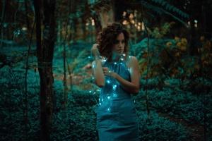 beautiful, christmas, lights, woman, forest, girl, light, model