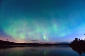 aurora boreal, las luces polares, silueta, cielo, estrellas, astronomía